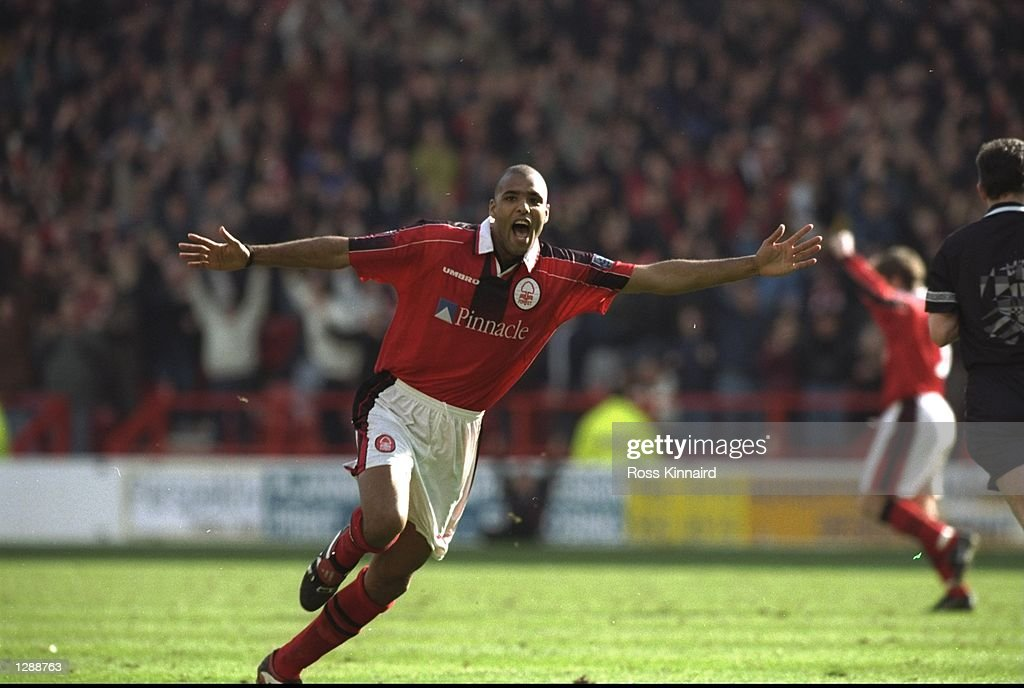 Pierre Van Hooijdonk of Nottingham Forest celebrates during a Nationwide League Division One match against Middlesbrough at the City Ground in Nottingham, England. Nottingham Forest won the match 4-0. \ Mandatory Credit: Ross Kinnaird/Allsport
