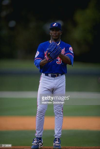 Pitcher Carlos Perez of the Montreal Expos in action during a spring training game against the Los Angeles Dodgers at the Holman Stadium in Vero...