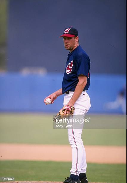 Pitcher Jason Grimsley of the Cleveland Indians in action during a spring training game against the Detroit Tigers at the Chain of Lakes Park in...