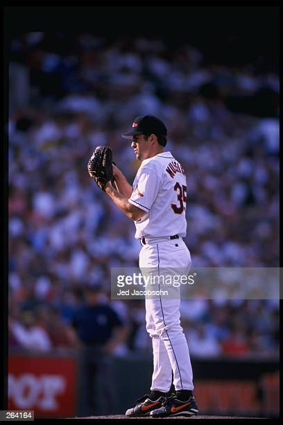 Pitcher Mike Mussina of the Baltimore Orioles in action during a game against the Kansas City Royals at the Camden Yards in Baltimore Maryland The...