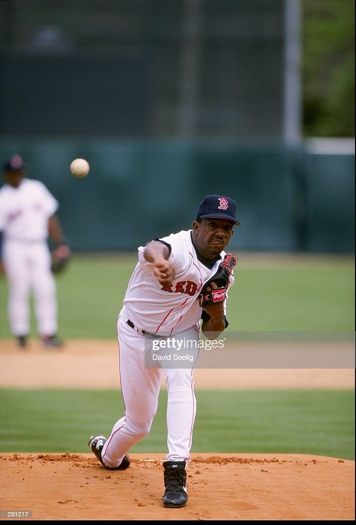 Pitcher Pedro Martinez #45 of the Boston Red Sox pitches during the Red Sox''s 11-2 win over the Minnesota Twins during Spring Training at City of Palms Park in Fort Myers, Florida. Mandatory Credit: David Seelig /Allsport