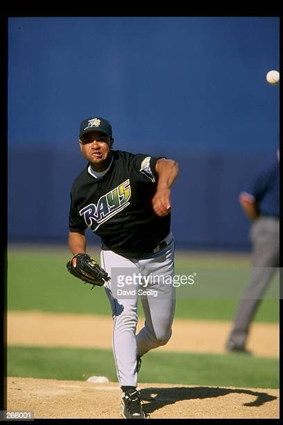 Pitcher Ramon Tatis of the Tampa Bay Devil Rays in action during a spring training game against the Detroit Tigers at the Joker Marchant Stadium in...