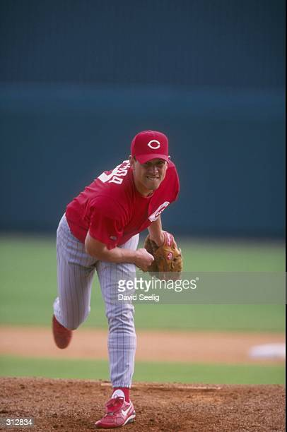 Pitcher Stan Belinda of the Cincinnati Reds in action during a spring training game against the Tampa Bay Devil Rays at the Al Lang Stadium in St...