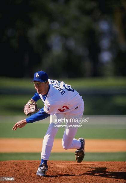 Pitcher Will Brunson of the Los Angeles Dodgers in action during a spring training game against the Florida Marlins at the Holman Stadium in Vero...