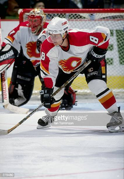 Rightwinger Valeri Bure of the Calgary Flames in action during a game against the St. Louis Blues at the Saddledome in Calgary, Alberta Canada. The...
