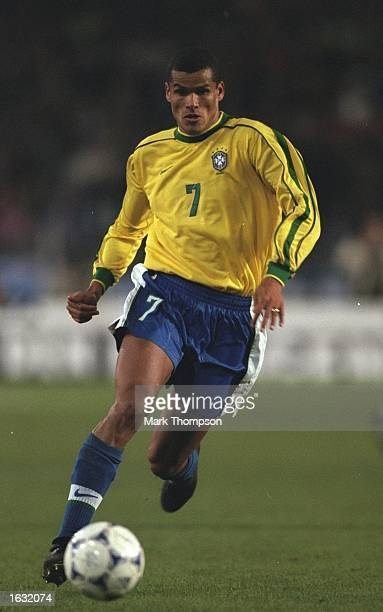 Rivaldo of Brazil runs with the ball during the Germany v Brazil friendly played in Stuttgart Germany Brazil won the match 21 Mandatory Credit Mark...
