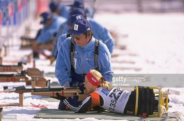 Tamara Kulynych of the Ukraine in action during the Womens Sitski Biathlon at the 1998 Winter Paralympics in Nagano Japan Mandatory Credit Alex...