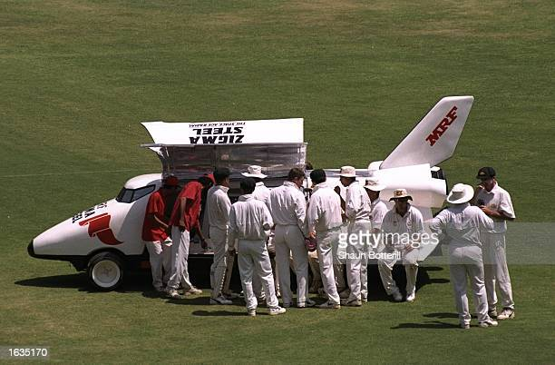 The Australia team take a break with the drinks van during the third test between India and Australia played in Bangalore India Australia won the...