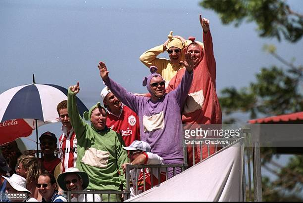 The 'Teletubbies' cheer on the England team during the Fifth Test match against the West Indies at the Kensington Oval in Bridgetown Barbados The...