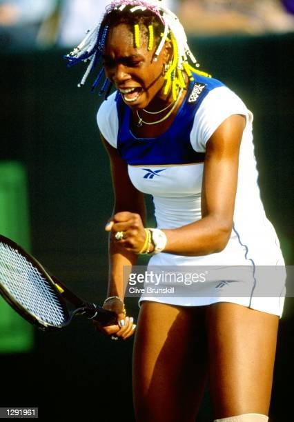 Venus Williams of the USA screams at her broken strings during the 1998 Lipton Championships played in Key Biscayne Florida USA Mandatory Credit...