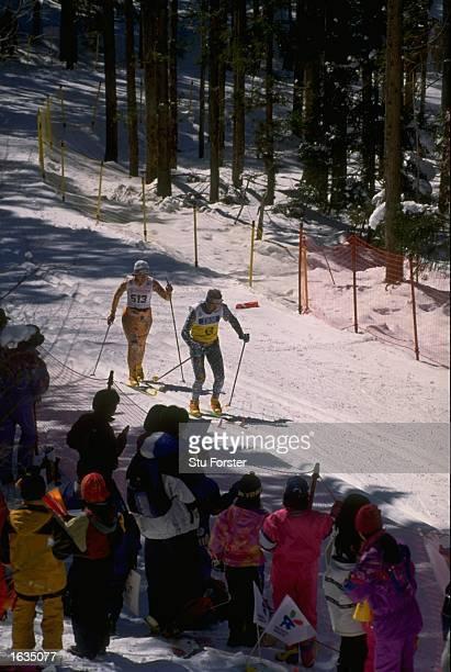 Vilma Nugis of Estonia in action during the Womens Blind Cross Country at the 1998 Winter Paralympics in Nagano Japan Mandatory Credit Stu...