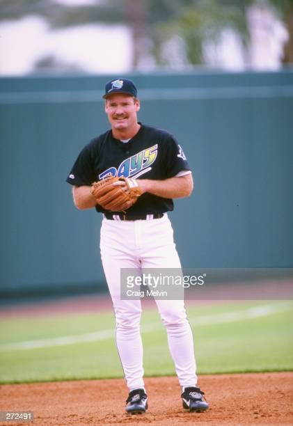 Wade Boggs of the Tampa Bay Devil Rays looks on during a spring training game against the Houston Astros at Ai Lang Stadium in St Petersburg Florida...