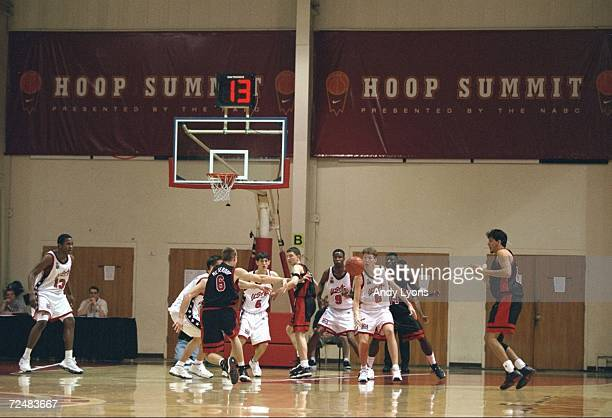 A general view of the action going on during the 1999 Nike Hoop Summit game between the United States Team and the International Team at the Bob...