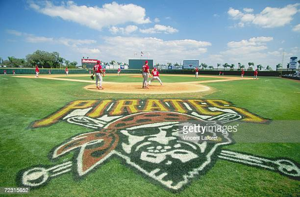 General view of the of the Pittsburgh Pirates logo painted on the field during the Spring Training game against the Philadelphia Phillies at the...