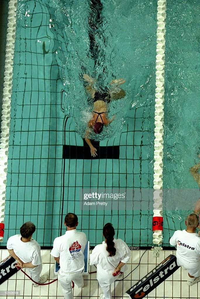 A swimmer nears the end of the 100m Multi Disability race during the 1999 Australian Open Championships and Pan Pacific Selection Trials in Brisbane, Australia. \ Mandatory Credit: Adam Pretty /Allsport