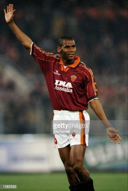 Aldair of Roma during the UEFA Cup quarterfinal second leg match against Atletico Madrid at the Stadio Olimpico in Rome Atletico won 21 to go through...