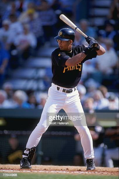 Alex Hernandez of the Pittsburgh Pirates at bat during the Spring Training game against the Philadelphia Phillies at the McKechnie Field in Bradenton...