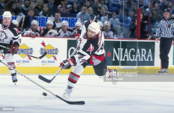 Alexei Zhitnik of the Buffalo Sabres in action during the game against the Edmonton Oilers at the Marine Midland Arena in Buffalo New York The Oilers...