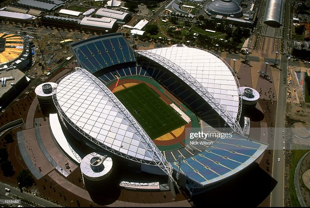 An aerial view of Stadium Australia at the Sydney 2000 Olympic site, Homebush, Sydney, Australia. \ Mandatory Credit: Nick Wilson /Allsport