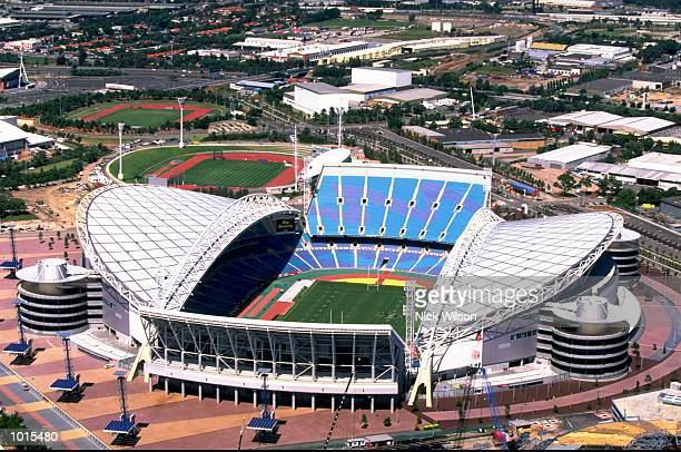 An aerial view of the Sydney 2000 Olympics site dominated by Stadium Australia at Homebush Sydney Australia Mandatory Credit Nick Wilson /Allsport