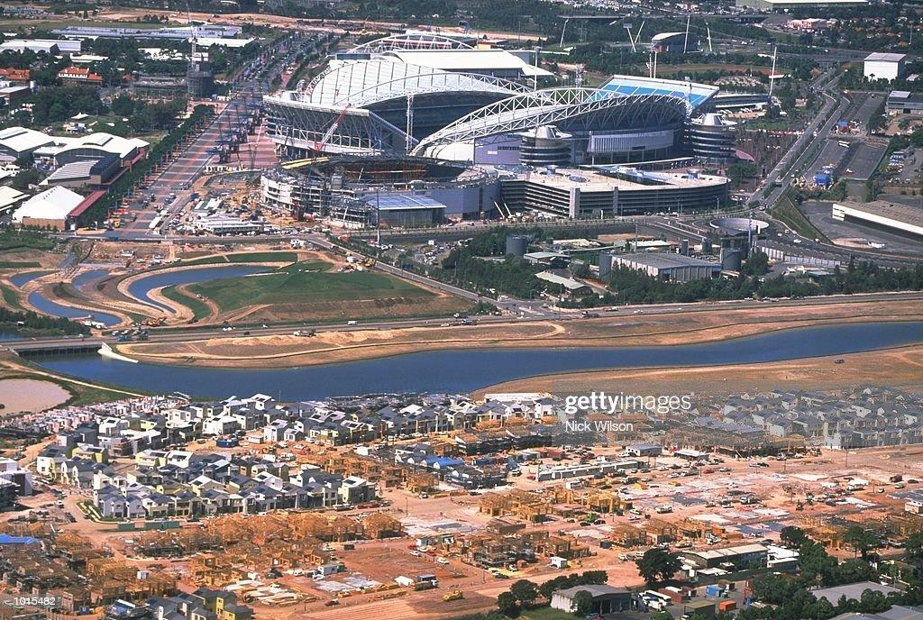 An aerial view of the Sydney 2000 Olympics site, dominated by Stadium Australia at Homebush, Sydney, Australia. \ Mandatory Credit: Nick Wilson /Allsport