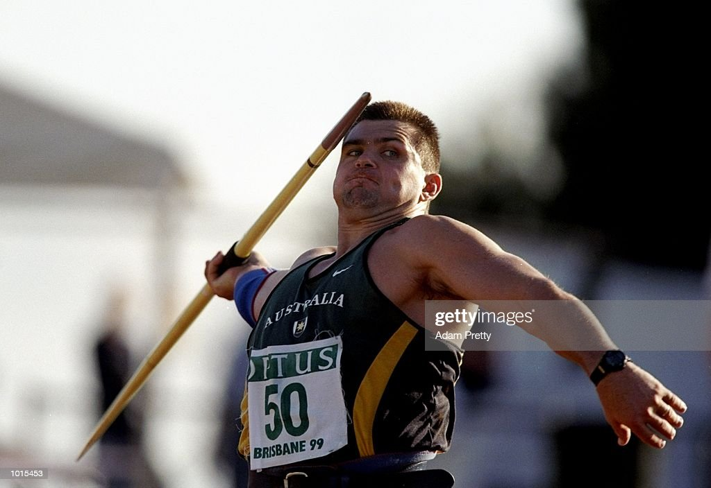 Andrew Currey of Australia in action during the Mens Javelin from the Optus Athletics Grand Prix Final in Brisbane, Australia. Currey went on to finish fourth in the event with a throw of 74.22m. \ Mandatory Credit: Adam Pretty /Allsport
