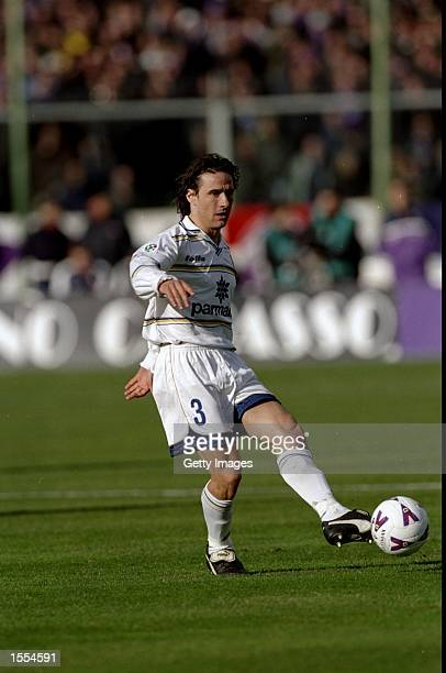 Antonio Benarrivo of Parma in action during the Italian Serie A match against Fiorentina played in Florence Italy Fiorentina won the game 21 Picture...