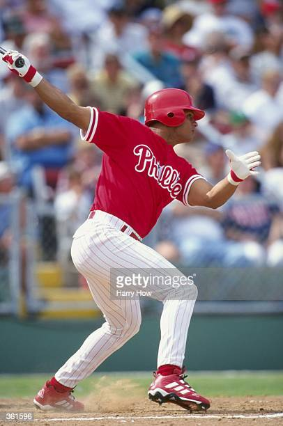 Bobby Abreu of the Philadelphia Phillies swings during a Spring Training game against the Cleveland Indians at the Jack Russell Stadium in Clearwater...