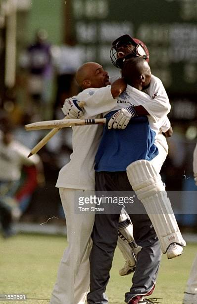 Brian Lara of the West Indies celebrates beating Australia after the Third Test played in Barbados Mandatory Credit Tom Shaw /Allsport