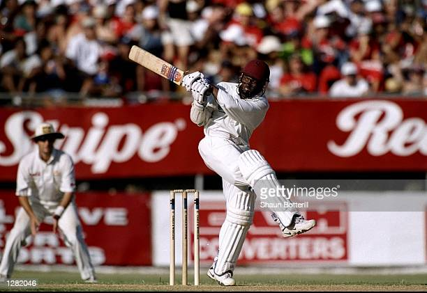 Brian Lara of the West Indies on his way to a double century against Australia in the Second Test at Sabina Park in Kingston, Jamaica. West Indies...