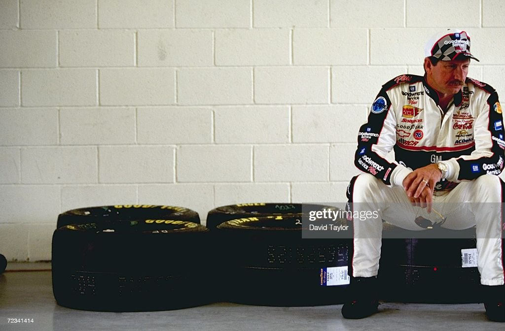 Dale Earnhardt #3 sitting on some tires looking on during practice for the Las Vegas 400 of the NASCAR Winston Cup Series at the Las Vegas Motor Speedway in Las Vegas, Nevada. Mandatory Credit: David Taylor /Allsport