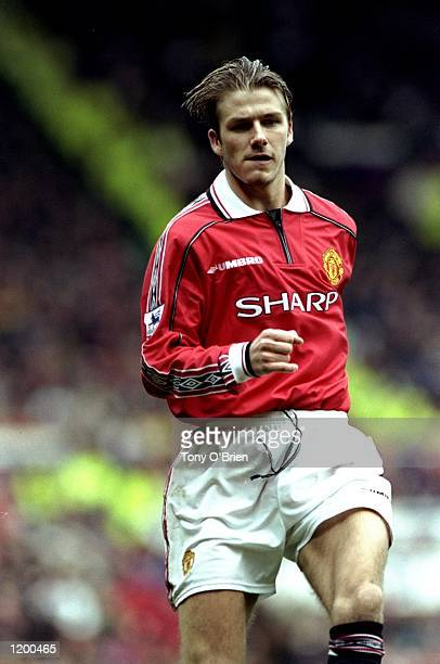 David Beckham of Manchester United in action during the FA Carling Premiership match against Everton played at Old Trafford in Manchester England...