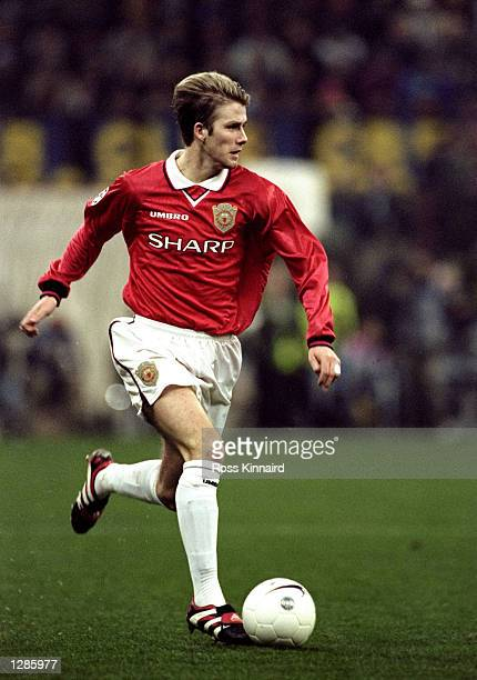 David Beckham of Manchester United looks up in the UEFA Champions League quarterfinal second leg match against Inter Milan at the San Siro in Milan...