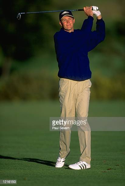 David Carter of England in action during the Madeira Island Open played at the Santo Da Serra GC in Madeira, Spain. \ Mandatory Credit: Paul Severn...