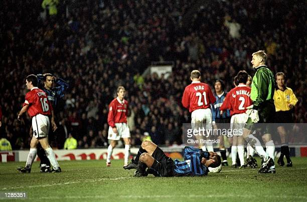 Diego Simeone of Inter Milan has a goal disallowed against Manchester United during the UEFA Champions League quarterfinal first leg match at Old...