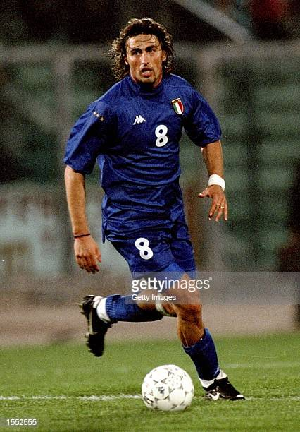 Dino Baggio of Italy on the ball in the European Championship qualifier against Belarus at the Stadio Del Conero in Ancona, Italy. The game ended...