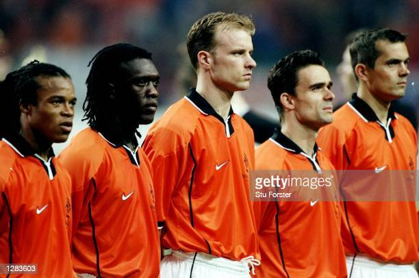 Edgar Davids Clarence Seedorf Dennis Bergkamp Marc Overmars and Phillip Cocu line up for Holland for the International Friendly against Argentina at...