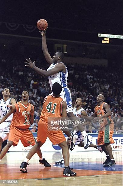 Elton Brand of the Duke Blue Devils in action during the NCAA First Round game against the Florida AM Rattlers at the Charlotte Coliseum in Charlotte...