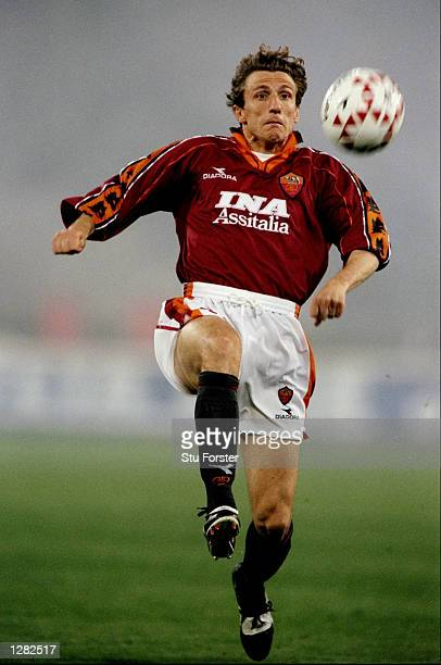Eusebio Di Francesco of Roma on the ball against Atletico Madrid in the UEFA Cup quarterfinal second leg match at the Stadio Olimpico in Rome...