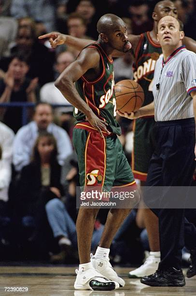 Gary Payton of the Seattle SuperSonics looking on during the game against the Sacramento Kings at the Arco Arena in Sacramento California The Sonics...