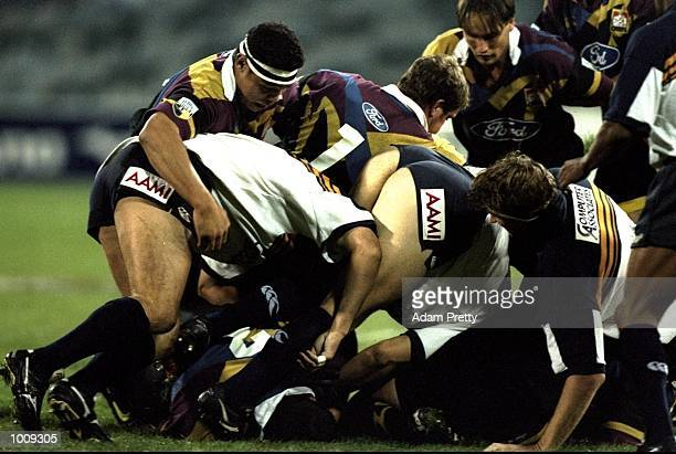 General view of the action during the Super 12 match between Waikato Chiefs and ACT Brumbies at Bruce Stadium in Canberra, Australia. The Chiefs won...