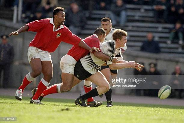 Gia Rapava of Georgia loses the ball during the 1999 Rugby World Cup against Tonga in Tbilisi Georgia Georgia won the game 2827 Mandatory Credit...