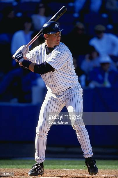 Infielder Clay Bellinger of the New York Yankees in action during a Spring Training game against the Toronto Blue Jays at the Legends Field in Tampa...
