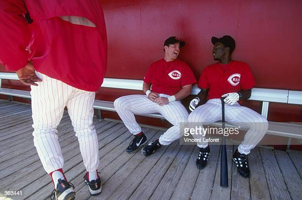 Infielder Sean Casey of the Cincinnati Reds sitting on the bench talking during the Spring Training game against the Pittsburgh Pirates at the Ed...