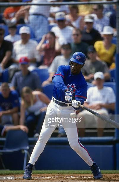 Infielder Tony Fernandez of the Toronto Blue Jays swings at the ball during the Spring Training game against the Boston Red Sox at the Dunedin...