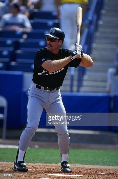 Infielder Wade Boggs of the Tampa Bay Devil Rays at bat during the Spring Training game against the New York Yankees at the Legends Field in Tampa,...