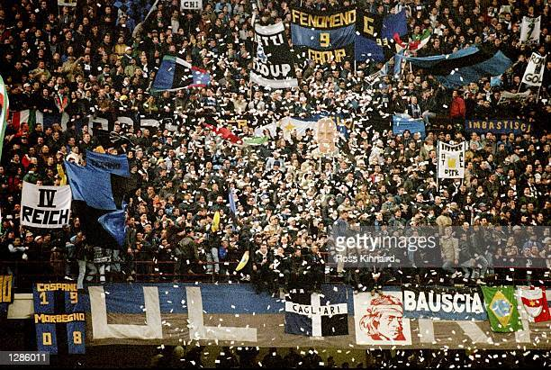 Inter Milan fans during the UEFA Champions League quarter-final second leg match against Manchester United at the San Siro in Milan, Italy. United...