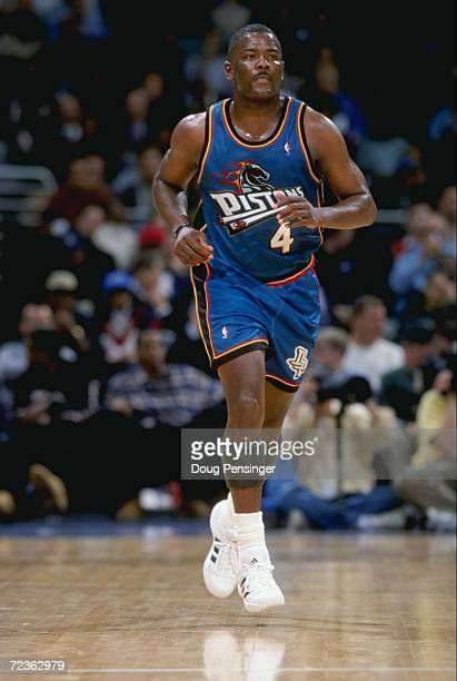 Joe Dumars of the Detroit Pistons heading down the court during the game against the Washington Wizards at the MCI Center in Washington DC The...