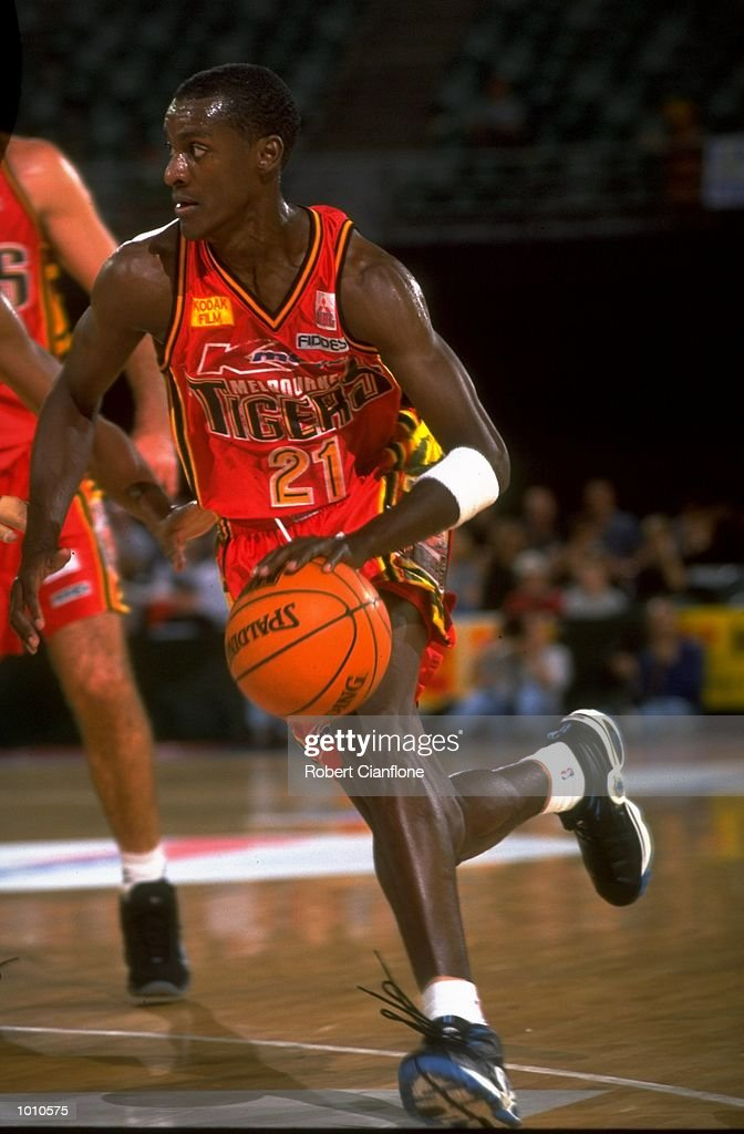Lanard Copeland of the Melbourne Tigers in action against the Brisbane Bullets, during the 1999 NBL game at the Melbourne Sports & Aquatic Centre, Albert Park, Melbourne, Australia. \ Mandatory Credit: Robert Cianflone /Allsport