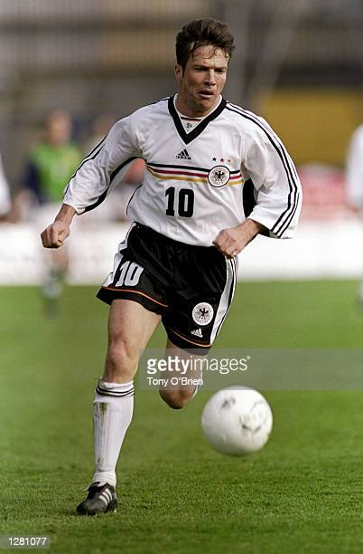 Lothar Matthaus of Germany on the ball against Northern Ireland in the European Championship qualifier at Windsor Park in Belfast Northern Ireland...